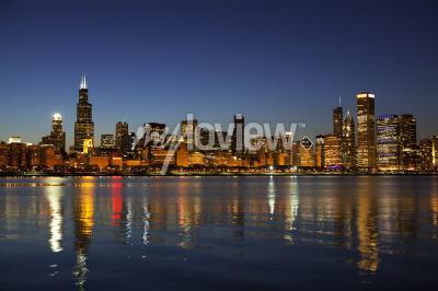 Фотообои Чикаго Skyline в сумерках