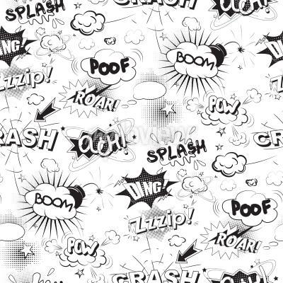 Фотообои Comic черный речи пузыри в поп-арт стиле бесшовные модели