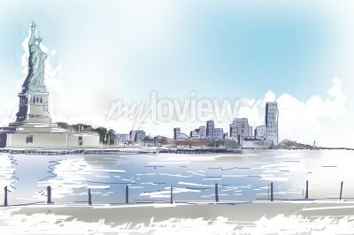 Картина Линия искусства иллюстрации Статуя Свободы и в центре Нью-Йорка на ярко-синий солнечный день. Путешествия и туризм концепция