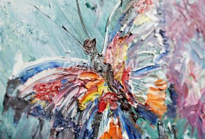 Картина Крупным планом фрагмент масляной живописи бабочка
