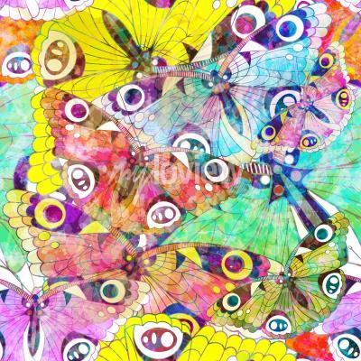 Картина Бесшовные узор с разноцветными бабочками