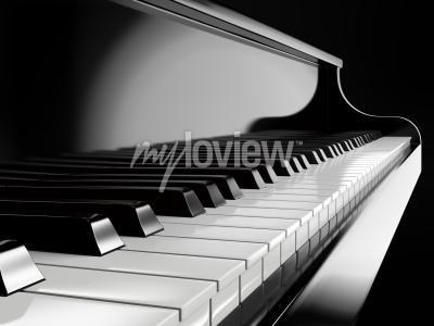 Картина Фортепиано клавиши на черном пианино