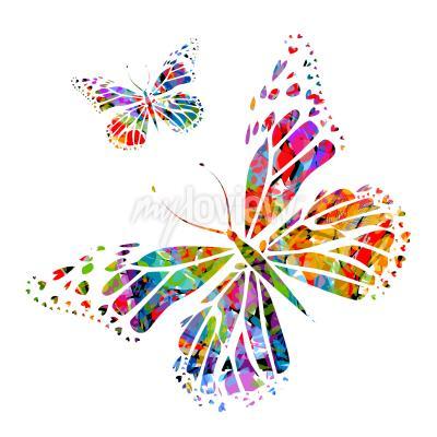 Фотообои Силуэт бабочки на пятна краски
