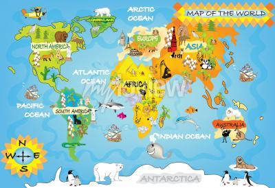 Фотообои Дети карта мира