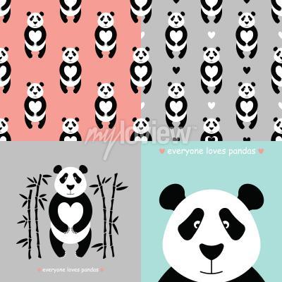 Фотообои Панда медведь набор