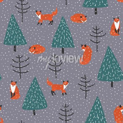 Картина Лис в зимнем лесу вектор бесшовные модели