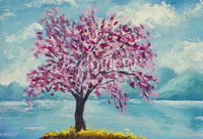 Картина Цветущая сакура на водной масляной живописи