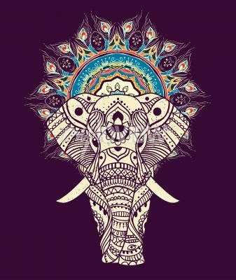 Картина Бесшовная рисованная карта со слоном