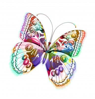 Наклейка Красочные изолированные бабочки