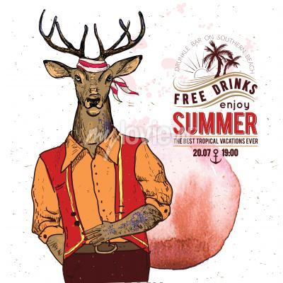 Плакат Иллюстрация пиратский олень на текстурированном фоне
