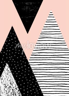 Фотообои Абстрактная геометрическая композиция в черном белом и пастельно-розовом
