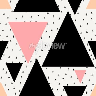 Фотообои Абстрактный геометрический бесшовный повторяющийся узор в черном кремовый пастельный розовый и оранжевый