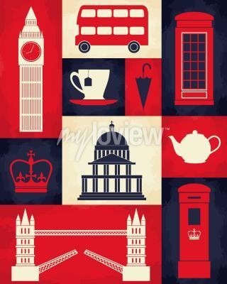 Плакат Плакат в стиле ретро с символами Лондона и ориентирами