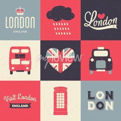 Плакат Набор поздравительных открыток в винтажном стиле с символами Лондона