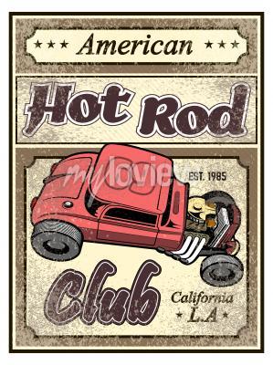 Плакат Горячий стержень пользовательского автомобиля плакат
