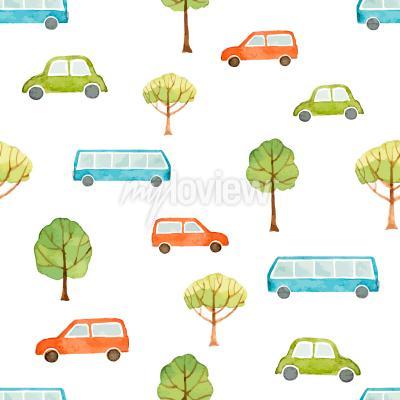 Фотообои Акварель бесшовные модели автомобиль автобус и деревья