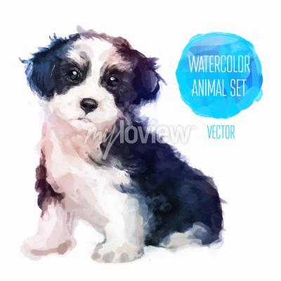 Плакат Собака ручная роспись акварель иллюстрации