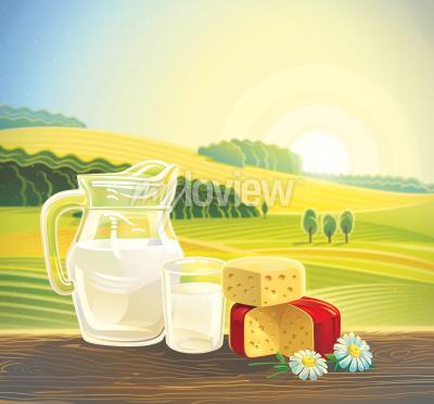 Плакат Сельский пейзаж с набором молочных продуктов