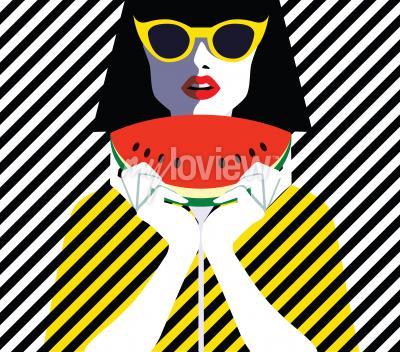 Картина Красивая молодая женщина с солнцезащитные очки и арбуз, ретро-стиль