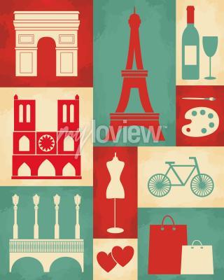 Фотообои Ретро-стиль с символикой и достопримечательностями Парижа
