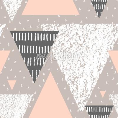 Фотообои Абстрактный геометрический бесшовный шаблон повторения в белом сером и пастельном розовом