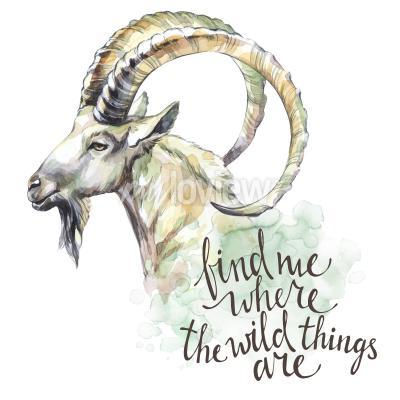 Картина Акварельная коза с рукописной фразой вдохновения