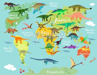 Фотообои Карта динозавров мира для детей и детей