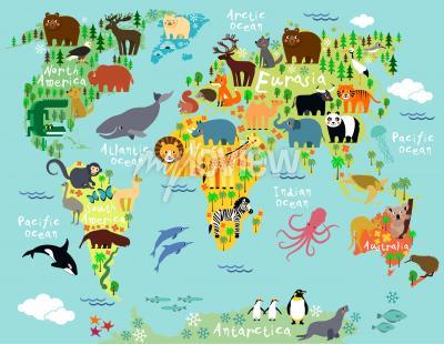 Фотообои Животная карта мира для детей и детей