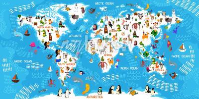Фотообои Карта мира животных мультфильмов