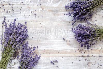 Фотообои Сухой дизайн лаванды с букетом на деревянном фоне