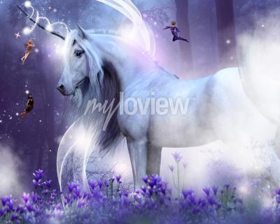 Фотообои Величественный единорог с тремя маленькими феями, посылающими волшебные блестки