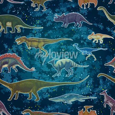 Фотообои Диплодокус Tyrannosaurus Рекс Pterodactylus ... в бесшовные модели, рисованной векторной иллюстрации