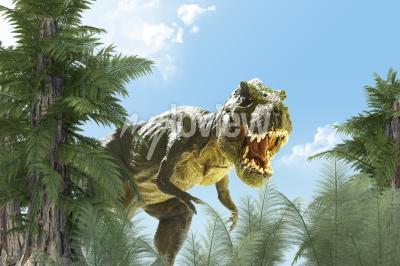Фотообои динозавр в джунглях