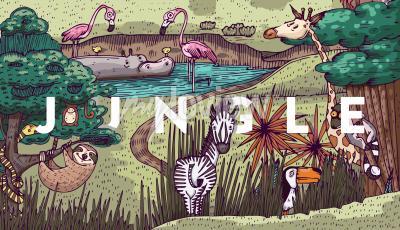 Фотообои Дикая жизнь в джунглях с разными животными