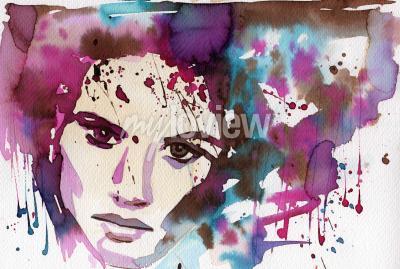 Картина Акварель, чтобы изобразить портрет молодой девушки.