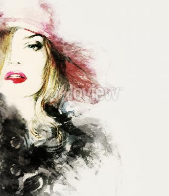 Картина Стиль женщина портрет абстрактные моды акварель иллюстрации