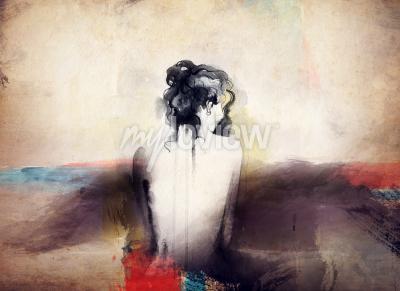 Картина Женщина портрет абстрактные акварель фон моды