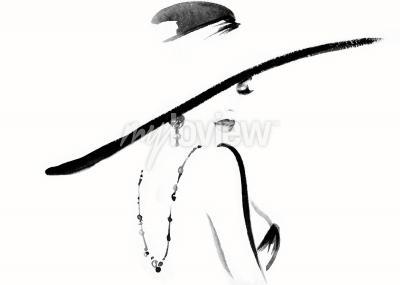 Картина Портрет женщины с изображением шляпы