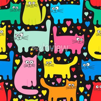 Фотообои Funny kittens and hearts