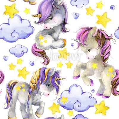 Фотообои Cute unicorn watercolor seamless pattern