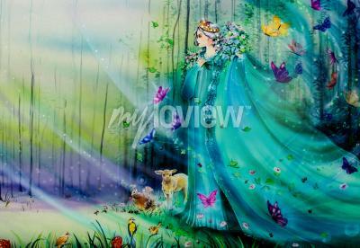 Фотообои Scenic view of fantasy world with fairies and ethereal animals