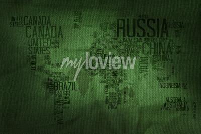 Фотообои Countries Name Typography World Map on Military Fabric Texture Background