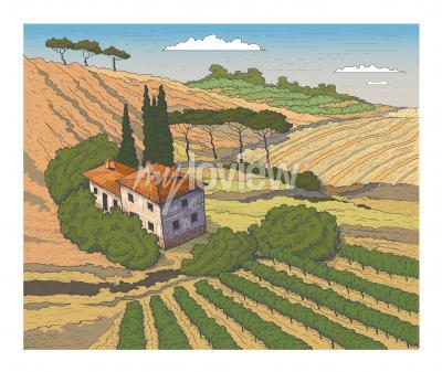 Плакат Countryside scenery in Tuscany