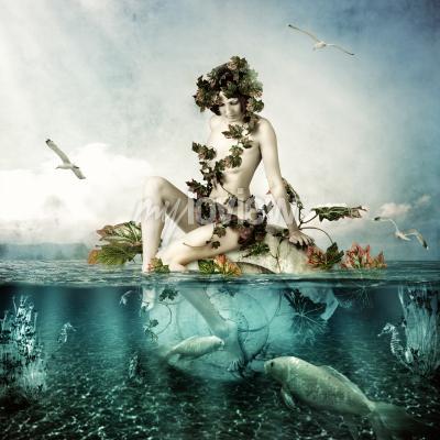 Картина Mermaid underwater Beautiful woman seating on a shell in sea or ocean