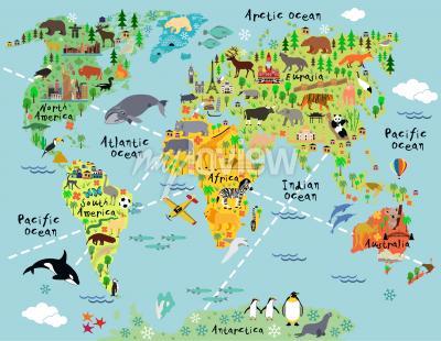 Фотообои Cartoon world map with landscape and animal