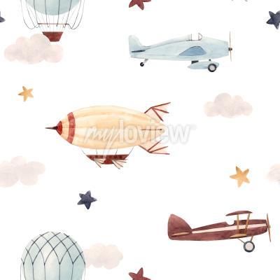 Наклейка Plane and cloud seamless pattern
