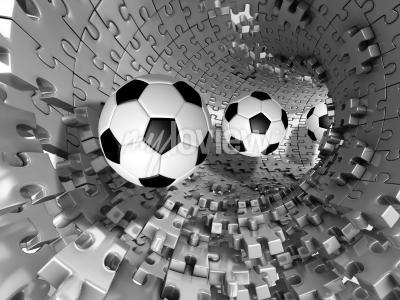 Фотообои 3d footballs in the tunnel
