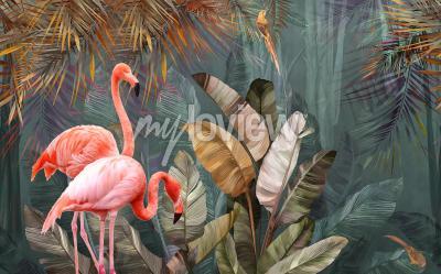 Фотообои Flamingo background design with tropical palm and banana leaves