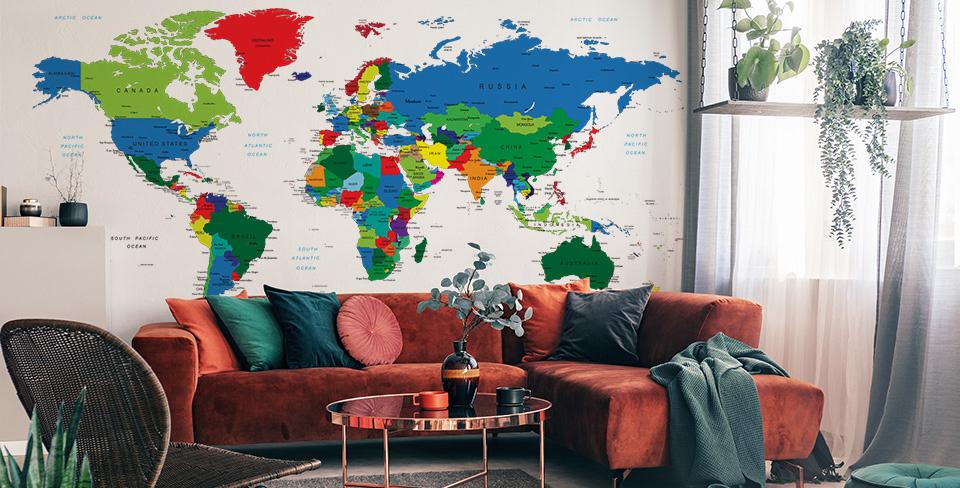 Фотообои kарта мира